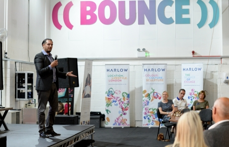 Harlow Ambassador Meeting at BOUNCE HQ with Dr Miguel Gutierrez-Martinez speaking