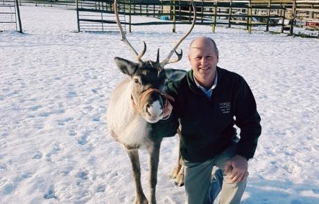 Justin Hopwood with reindeer