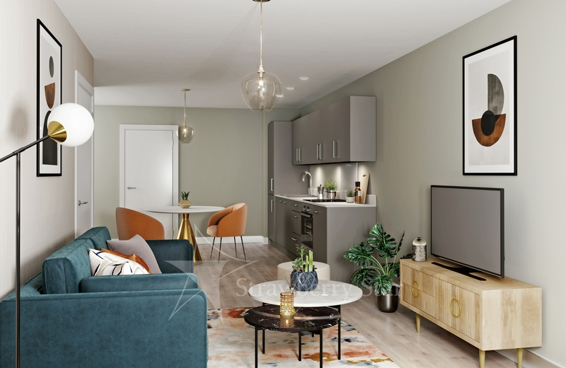 Example of kitchen, living room in Harlow Quarter development