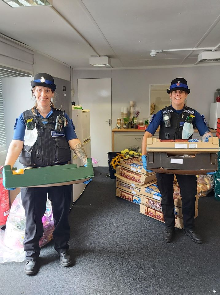 Essex Police with food parcels from Community Embrace