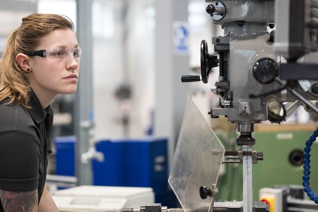 Harlow College student at manufacturing plant