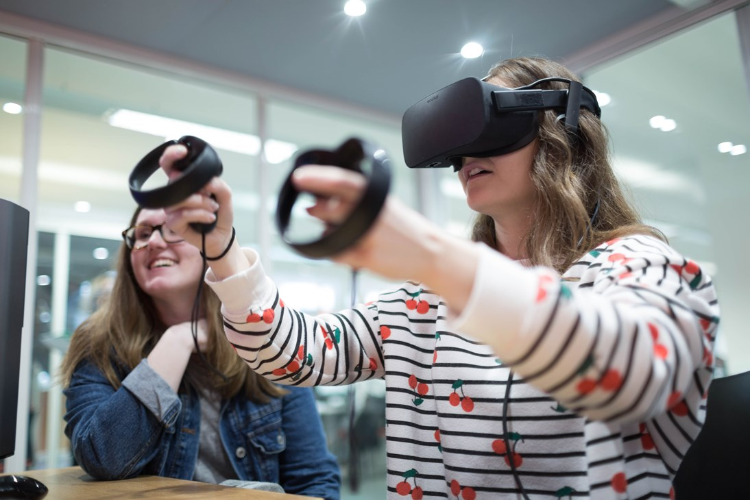 Harlow College student with virtual reality headset