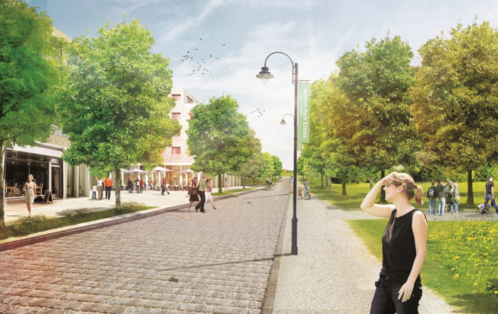 Proposed view of Village 1 - Lime Avenue at Gilston Park Estate